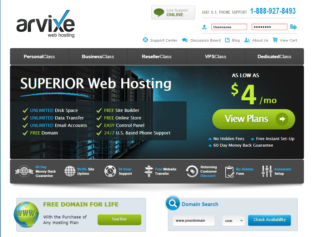 arvixe-7 Best service for WordPress Shared Hosting