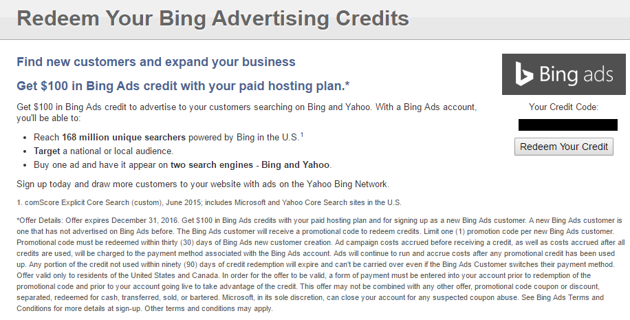 Get 100$ Bing Ads Coupon for only 0.3$