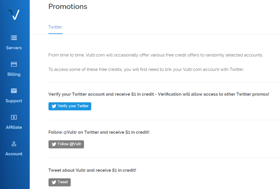 Vultr Twitter New Promotions