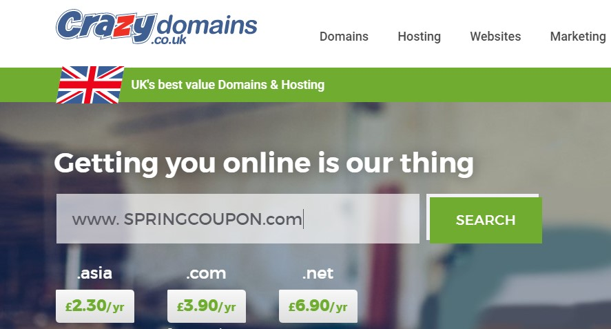 Get .COM Domain For Simply £3.90 at CrazyDomains